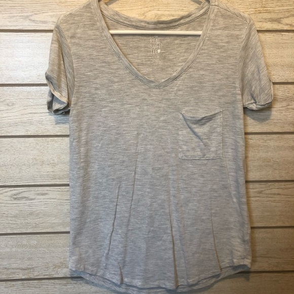 aerie Tops - Aerie Gray and White Striped, V-Neck 🕶
